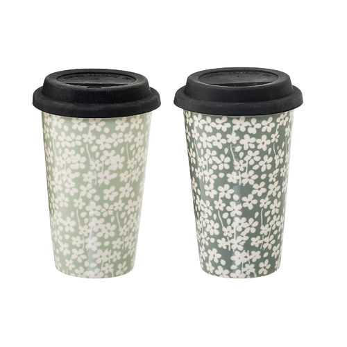 Bloomingville Kaffeebecher mit Deckel Seeke 2er Set