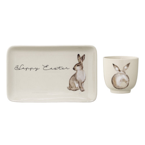 Bloomingville Tasse & Teller Happy Easter