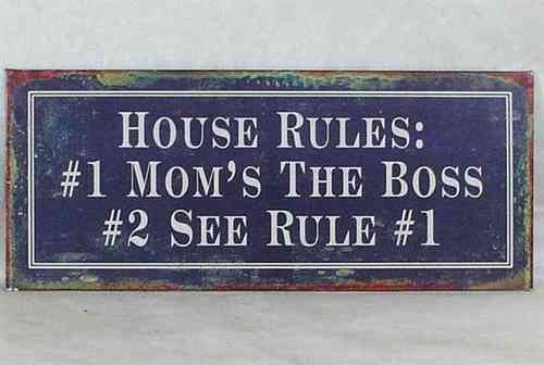 "La Finesse Blechschild ""House Rules"""