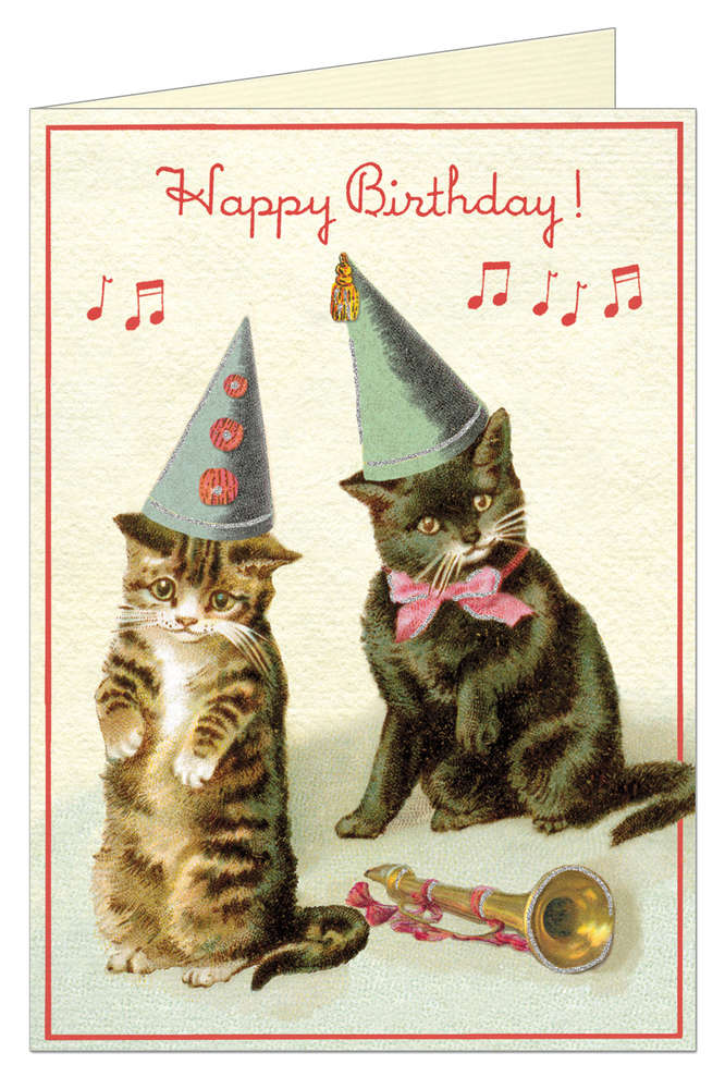 Cavallini Grusskarte Birthday Cats