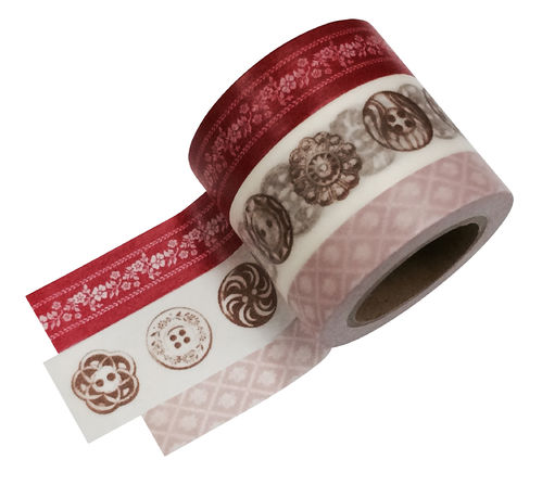 Masté Washi Tape Grand Rot 3er Set