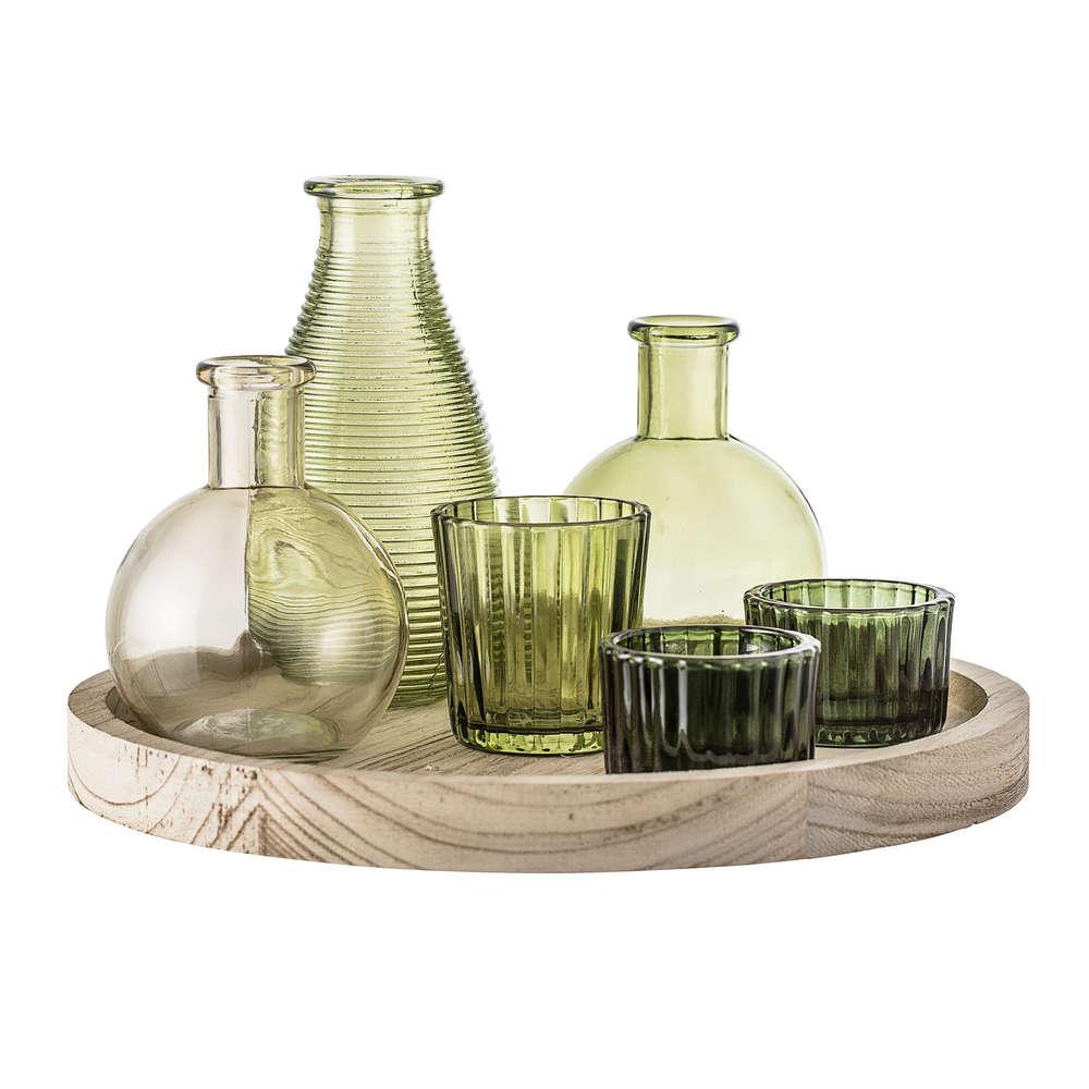 Bloomingville Holztablett mit Gefäßen und Vasen, 20 teilig, grün