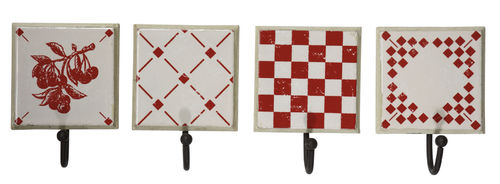 Haken-Set Damier rouge (4 St.)